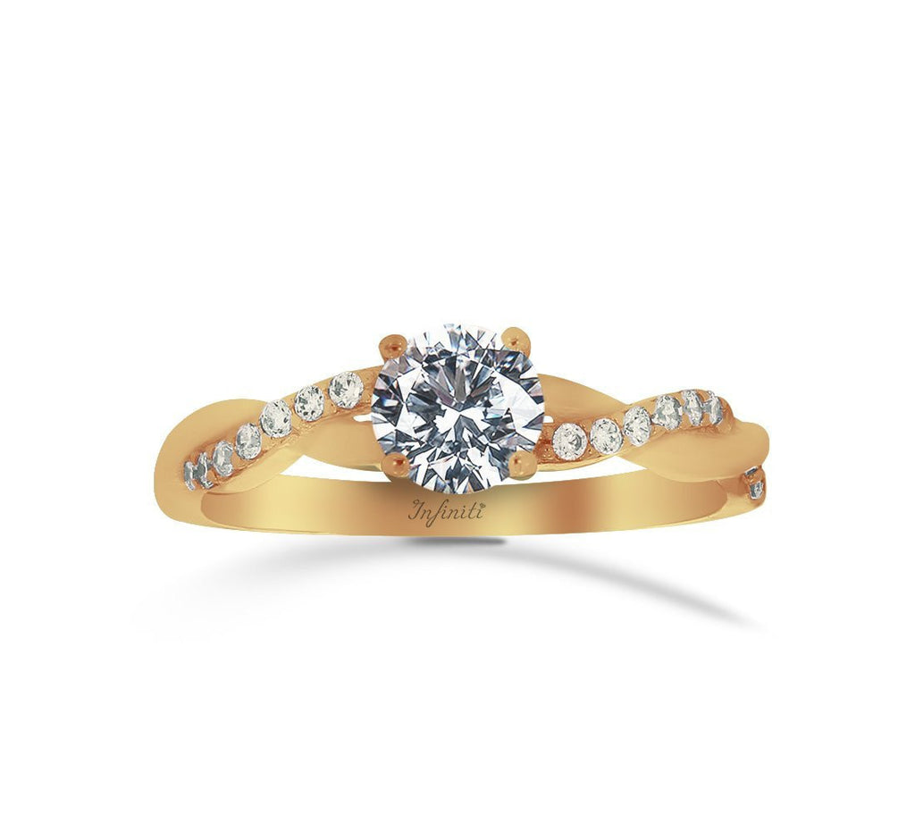 Anillo Oro 10k, con Zirconia Central de 5.5 mm, Laterales de 1 mm