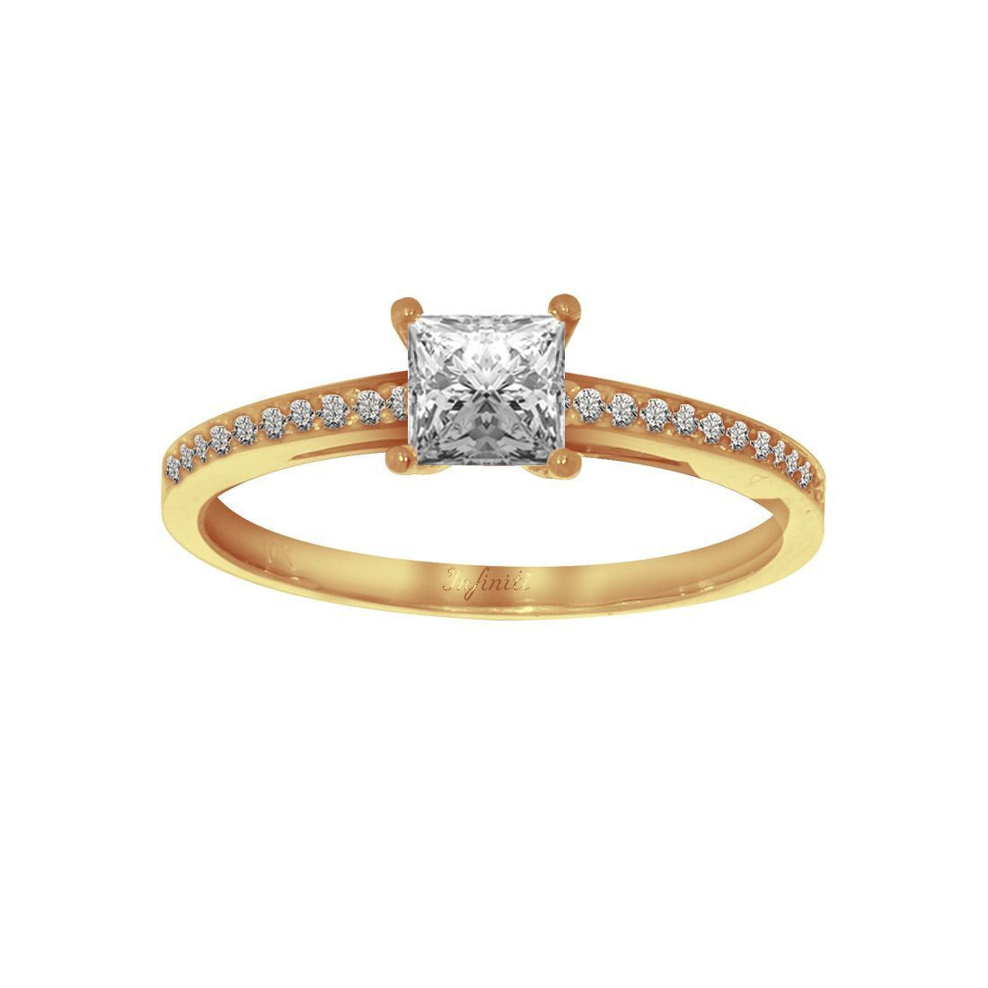 Anillo Oro 10k, Zirconia Central Princess de 4.5 mm, Laterales 1 mm