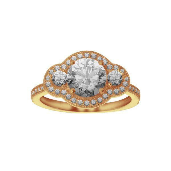 Anillo Oro 10k, Triple Zirconia, 7 mm Central, 2.5 mm Lados, 1 mm Laterales - Infiniti Joyas