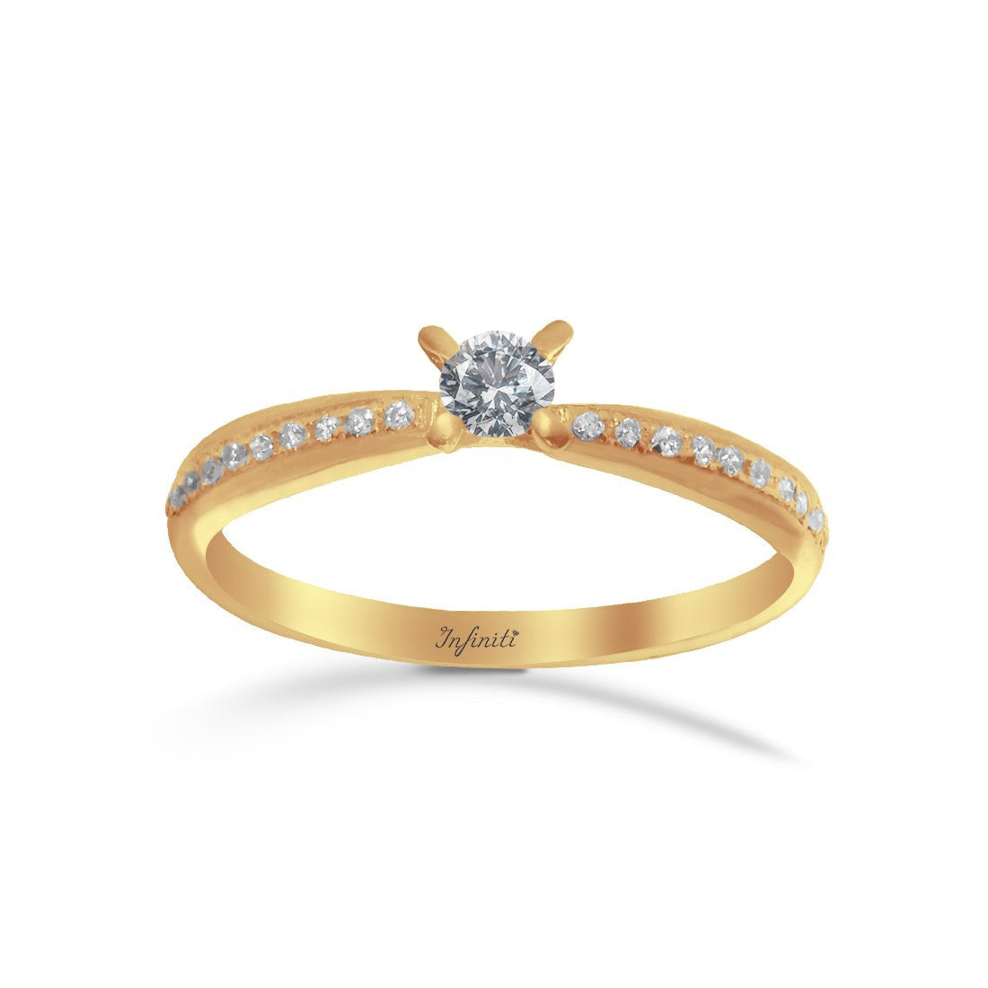 Anillo Oro 10k, Zirconia 3.5 mm estilo Pavé con Laterales de 1 mm