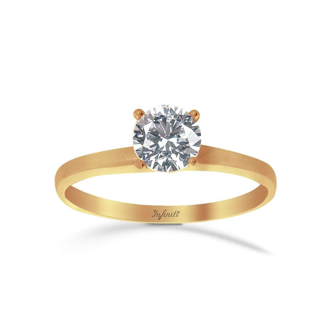 Anillo Oro Amarillo 10k, Zirconia 5.5 mm Solitario
