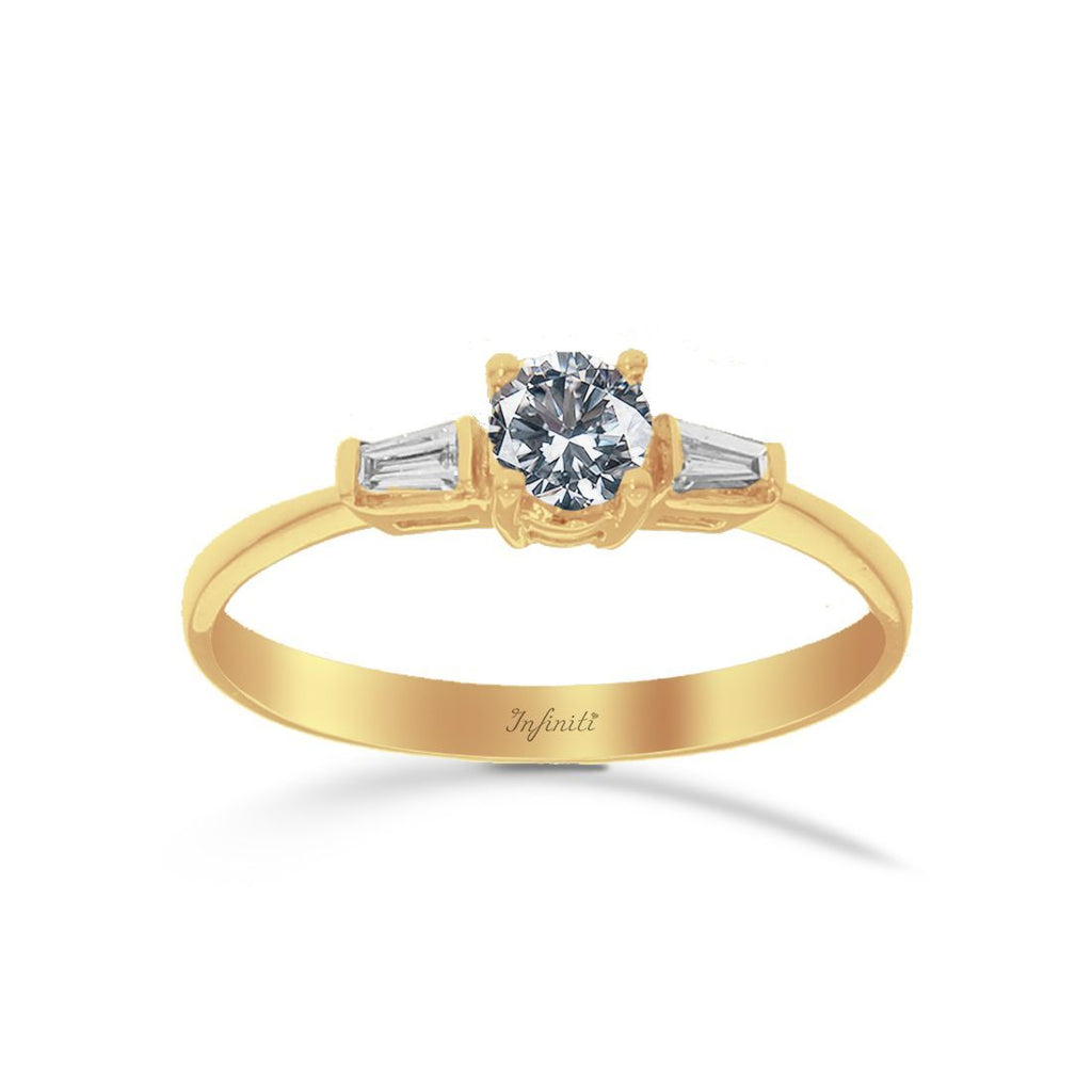 Anillo Oro 14k, Diamante Natural con 42 Puntos Totales