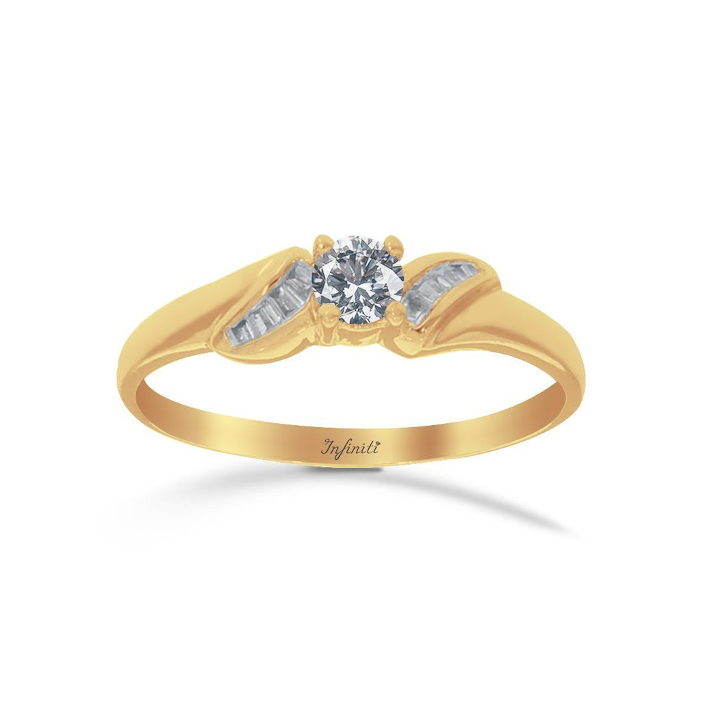 Anillo Oro 14k, Diamante Natural, Centro 19 Puntos + 7 Puntos Laterales