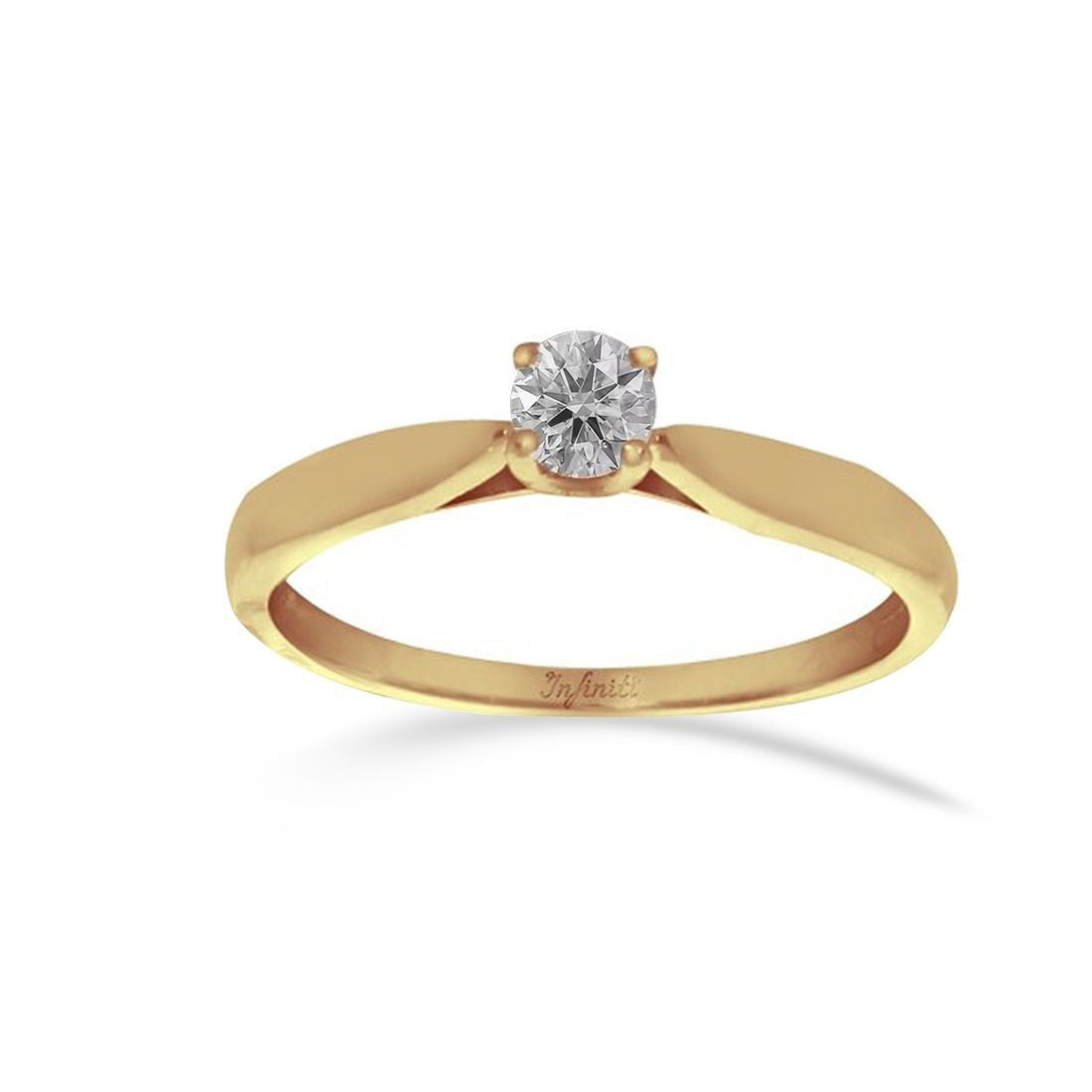 Anillo Oro 14k, Diamante Natural de 21 Puntos, Oro 14k