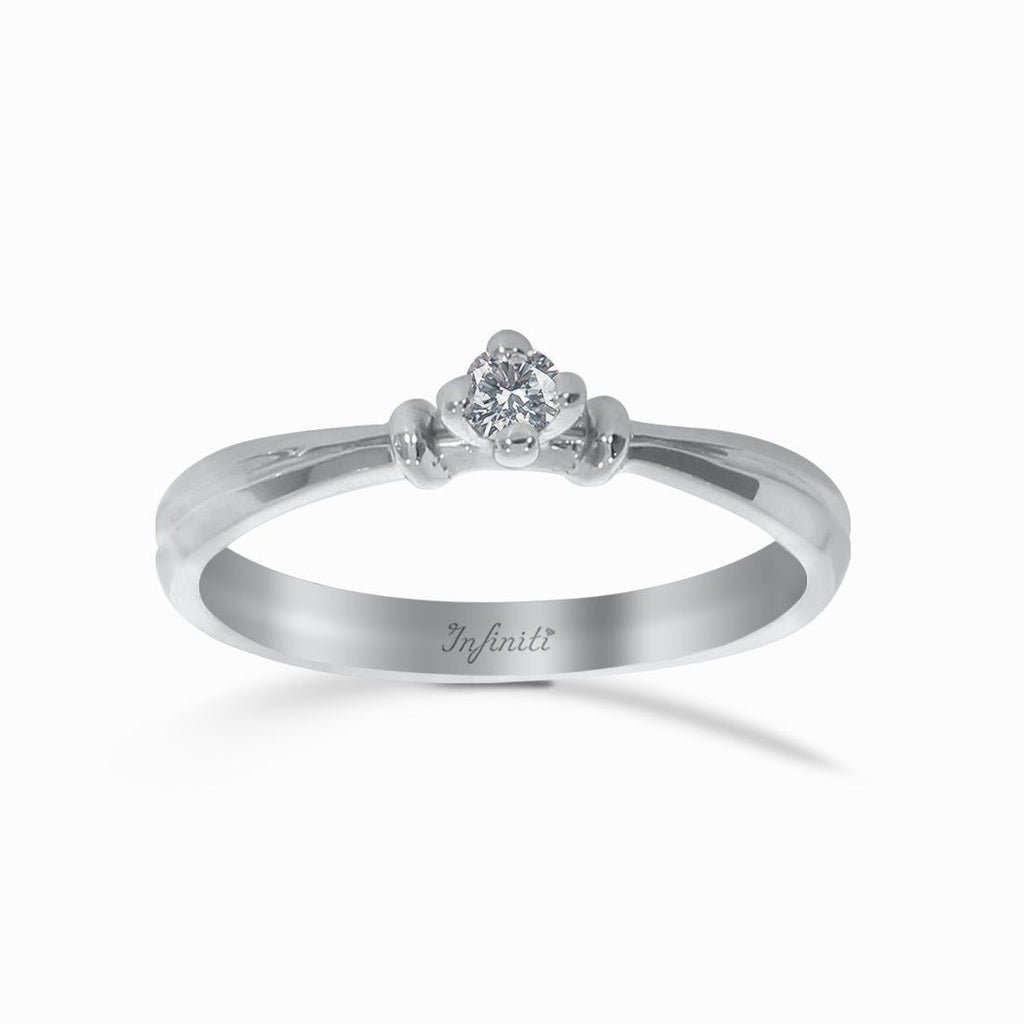 Anillo Oro Blanco 14k, Solitario de Diamante Natural de 7 Puntos