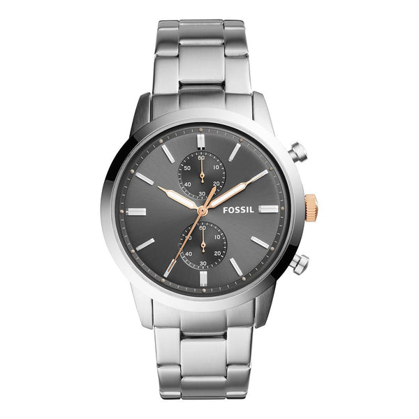 Fossil Men's Black Dial Stainless Steel Band Watch - Infiniti Joyas