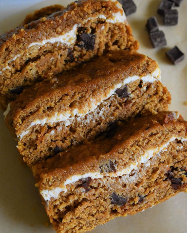 Vegan Pumpkin Bread Stuffed with Dairy Free Cream Cheese made with 5 Seed Butter
