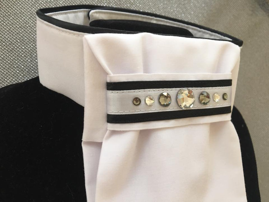 Real Dream Exclusive White Stocktie with Swarovski Navy or Black Trim