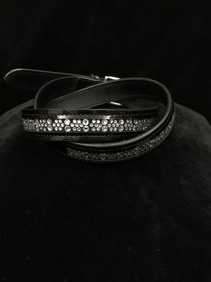 New Stunning Swarovski Hotfix Black Patent Belts
