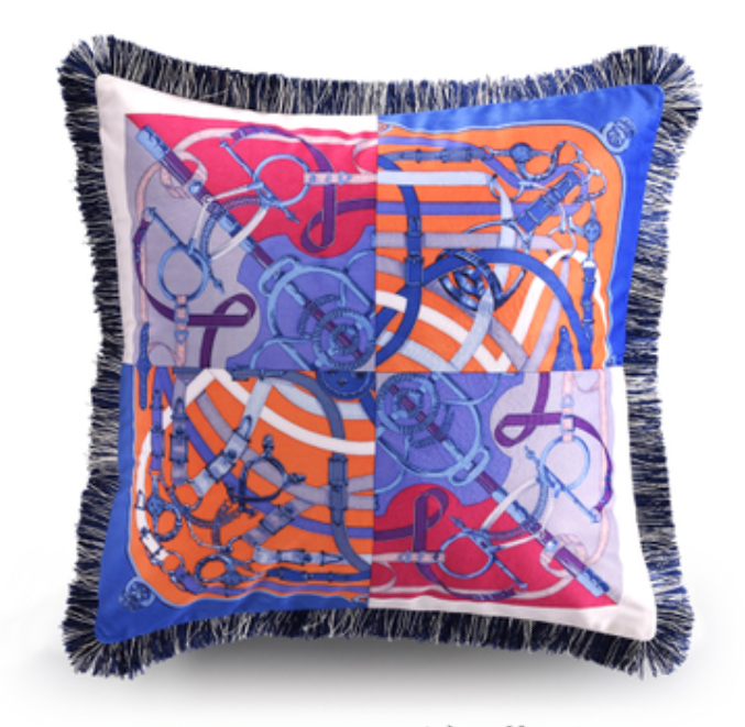 Hermes Print Vibrant Cushion blue and red bits and reins