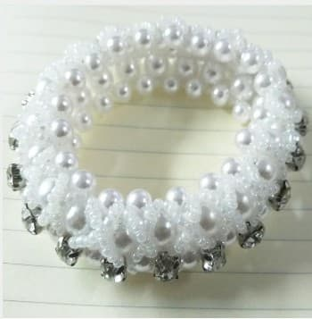 Pearl/Crystal Scrunchie available in Navy,Black or White