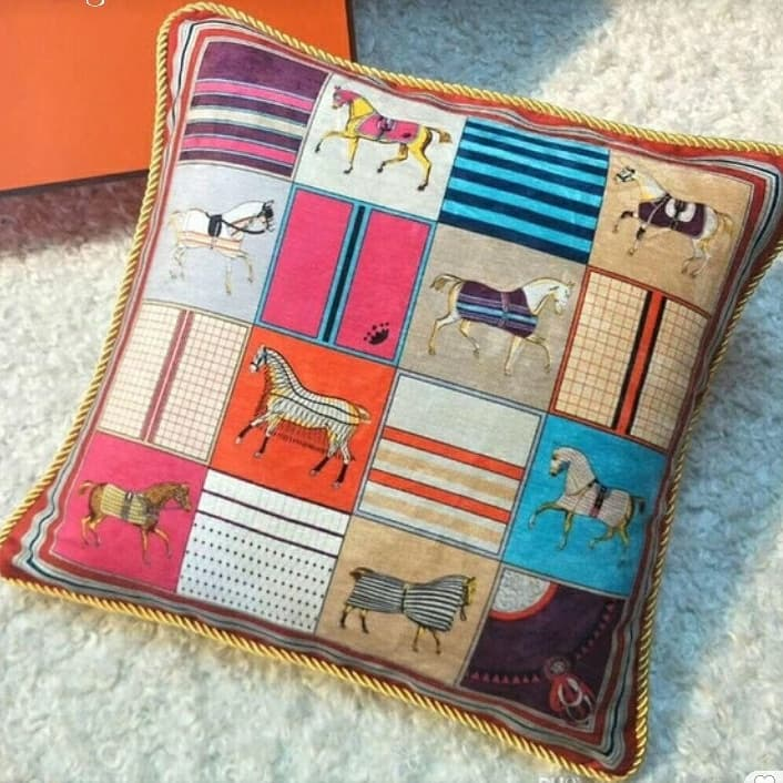 Hermes Print Bright Soft Doublesided Small Horses Cushion