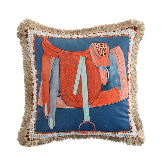 Teal Blue and Orange Saddleprint cushion with Gold Fringe
