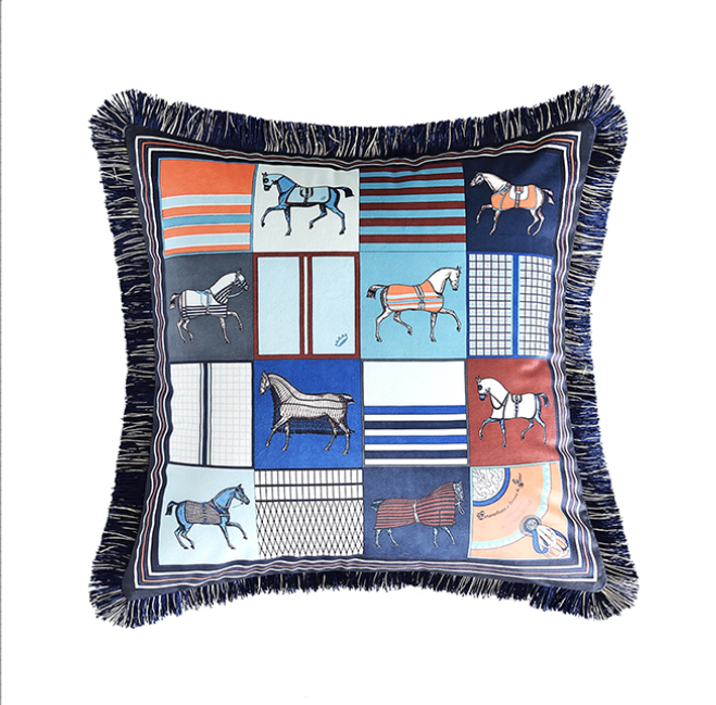 Equestrian Homewares Blue and Orange small horses with blue fringe