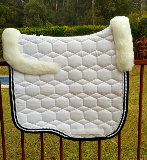 Mattes White New Style SHEEN saddlepad with NAVY Binding and Contrast Pipings