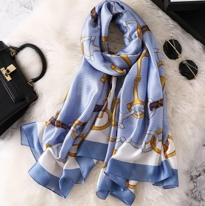 New Silk Scarf bit print Soft Blue