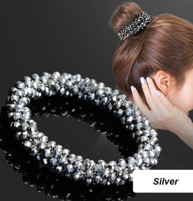 Silver Glamour Hair Scrunchie