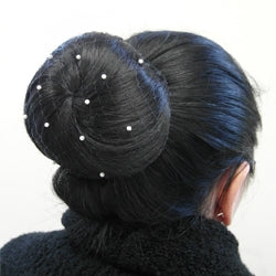 Invisible Hairnet with Pearls in Black,Brown or Blonde
