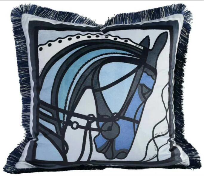 Luxury High End Equestrian Cushion ( Blue Horsehead)