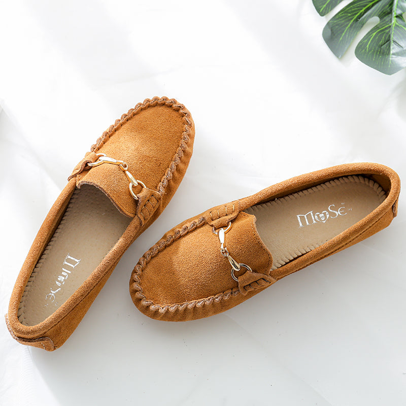 Tan 100% Geniune Leather suede soft casual Loafers with Goldbit