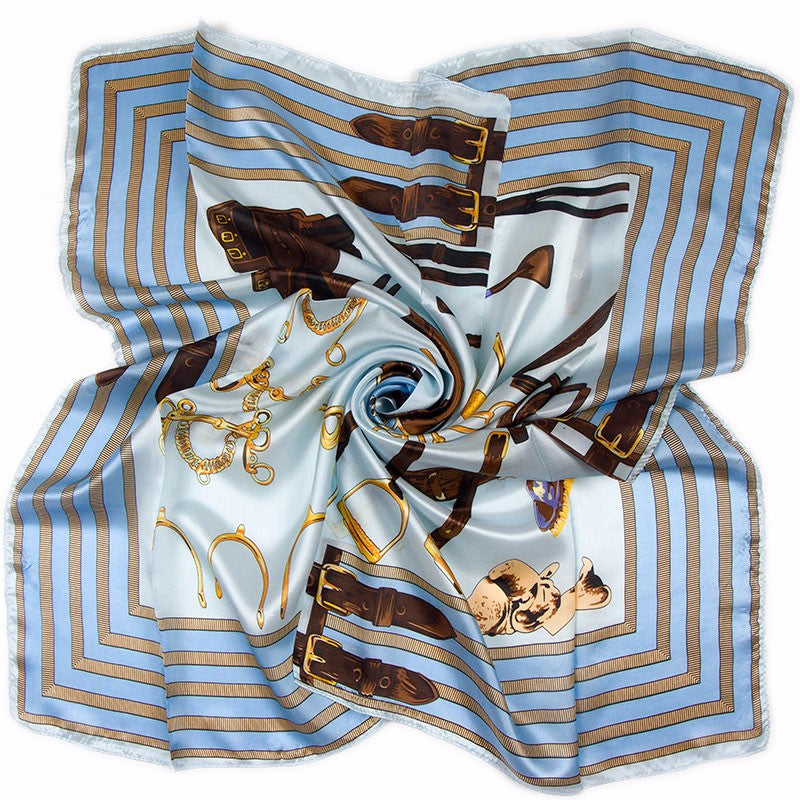 100% silk scarf with elegant horse print in two colours