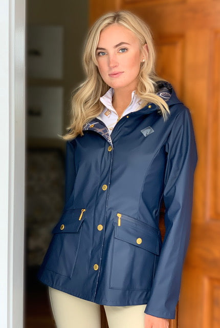 Arista Raincoat Navy,with Navy Signature Facing Design