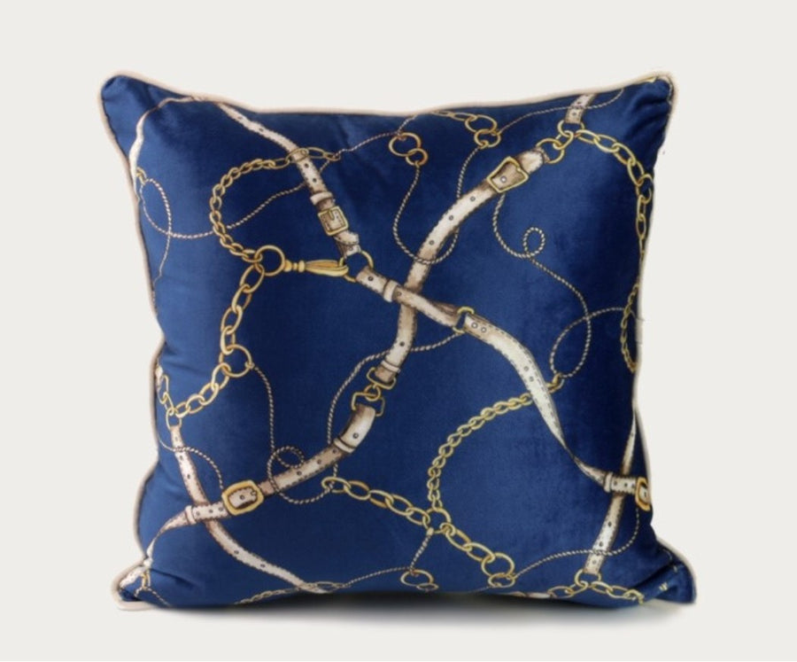 Luxury New Navy Chains and Leathers Cushion