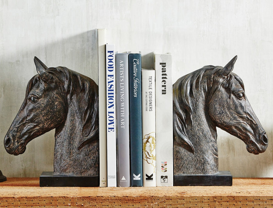 Equestrian Large Black Horsehead Bookends