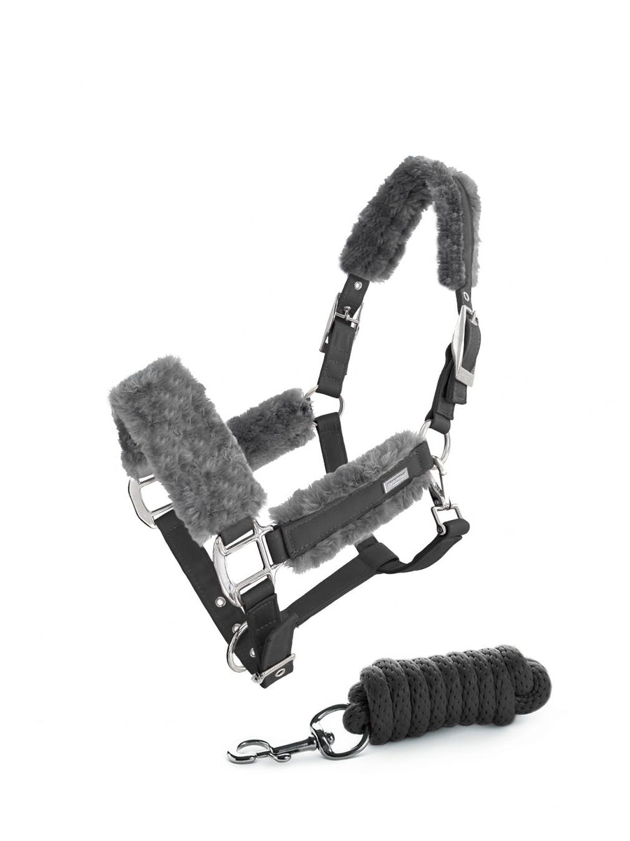 Equestrian Stockholm Silver Cloud Fur Halter and Lead Set