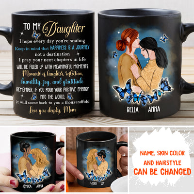 Happiness Is Journey - Personalized Custom Coffee Mug - Gift To Daughter From Mom