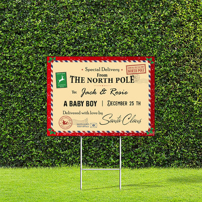Baby Delivery From The North Pole - Personalized Custom Yard Sign - Christmas Decorations