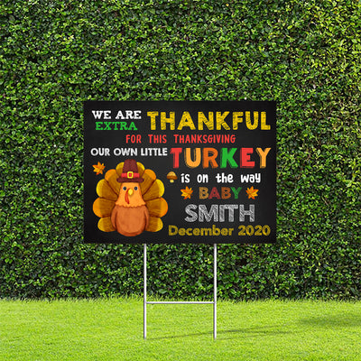 Little Turkey Is On The Way - Personalized Custom Yard Sign - Thanksgiving Decorations
