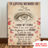 I Hide My Tears - Personalized Custom Matte Canvas - Memorial Canvas