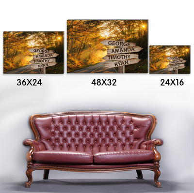 Personalized Custom Multi-names Canvas - Autumn Road