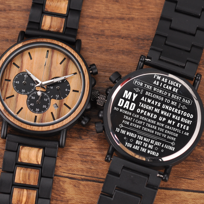 THE WORLD'S BEST DAD - WOOD WATCH - FATHER'S DAY GIFTS, ANNIVERSARY GIFTS, BIRTHDAY GIFTS