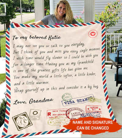 Personalized Custom Blanket - Love Letter from Grandparents to Grandchildren - Blanket with Quotes, Birthday Gift, Gift to Grandchildren
