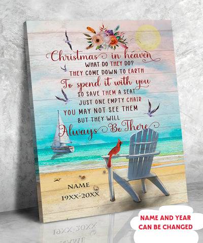 Christmas In Heaven - Personalized Custom Canvas - Memorial Canvas
