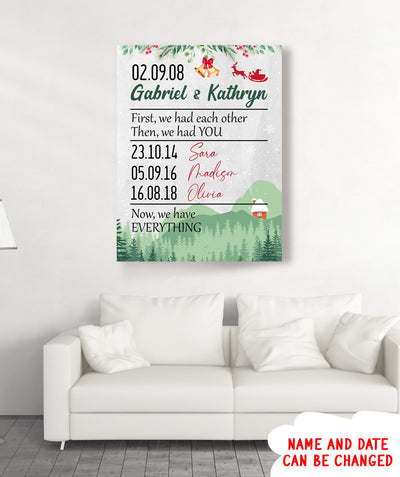 Now We Have Everything - Personalized Custom Canvas - Family Christmas Gifts
