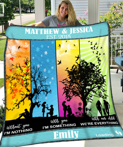 With You With Our Child - Personalized Custom Fleece Blanket - Sentimental Gifts For Mom To Be