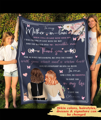 Thank You To Mom-in-law - Personalized Custom Fleece Blanket - Family Gift