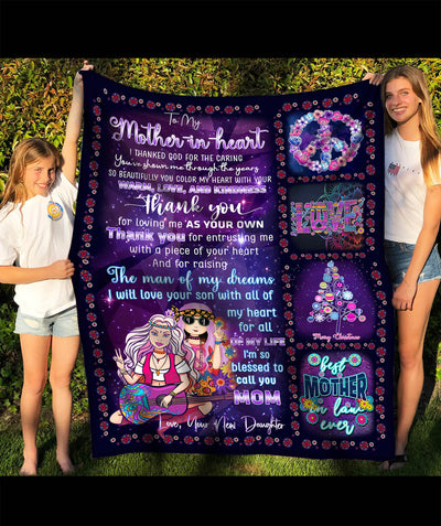 Thank You – To Mother-In-Law Fleece Blanket - Hippie Blanket