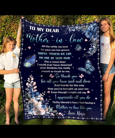 I appreciate all you do - Personlaized custom fleece blanket - Gifts For Mother-in-law