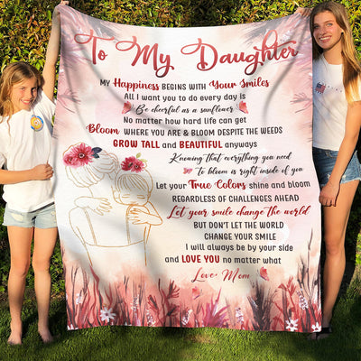 Smile - Premium Fleece Blanket - Gifts For Daughter From Mom