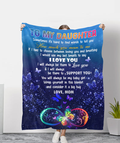 Love You Till My Last Breath - Premium Fleece Blanket - Gifts For Daughter From Mom