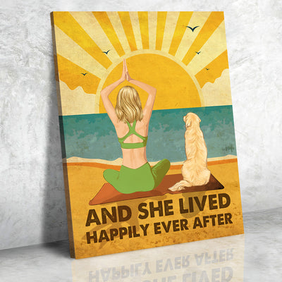 Yoga And Dog - Personalized Custom Canvas - Happily Ever After