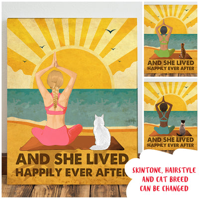 Personalized Custom Canvas - Yoga And Cat - Happily Ever After