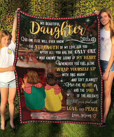 Daughter Mom - Love And Peace - Personalized Custom Fleece Blanket - Christmas Gifts