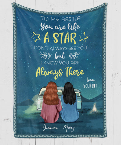 Bestie Is Like A Star - Personalized Custom Fleece Blanket - Gift For Friends