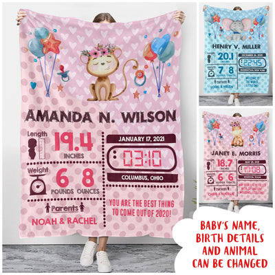 Birth Stats - Personalized Custom Fleece Blanket - Gifts For Newborn