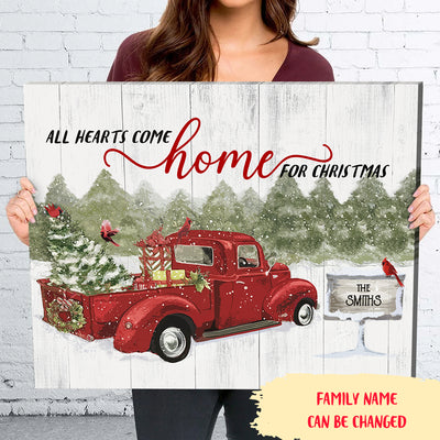 All hearts come home for Christmas - Personalized custom canvas - Christmas gifts